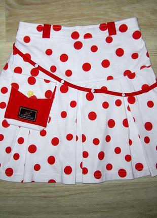 Нарядная юбка коттоновая для девочек с сумочкой размер 7-8 лет