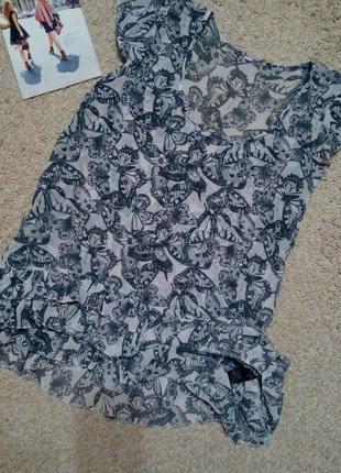 Next удлиненная стильная шифоновая блузка с воланами l-xl