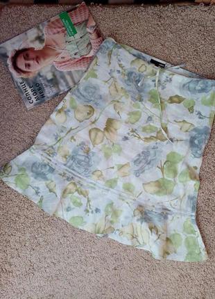 H&m актуальная нежная льняная юбка с воланом принт xs-s