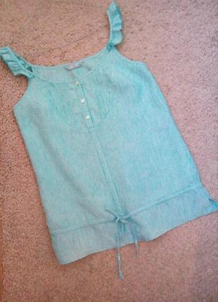 Tu актуальная льняная блузка-туника в полосочку бирюзового цвета