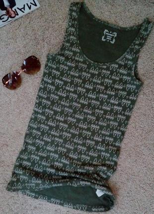 Old navy стильная футболка/майка в рубчик цвета хаки, принт со...