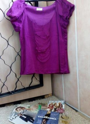 Kaliko актуальная блуза с воланами 100% натуральный шелк uk14