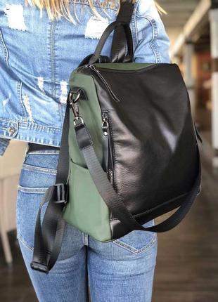Кожаная сумка рюкзак «taus» черная с оливковым