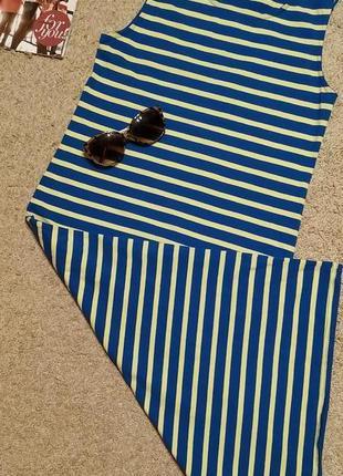 Originals идеальное платье миди по фигуре/ принт цветная полоска