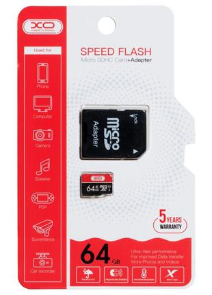 Карта памяти XO microSDCX 64 GB Class 10 + SD adapter