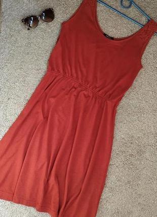 Esmara (германия) легкое трикотажное платье терракотового цвет...