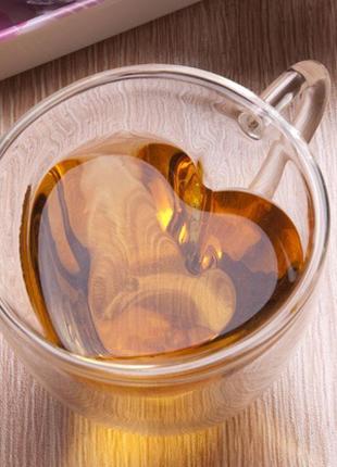 Чашка с двойным стеклом в виде сердца