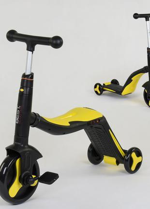 Детский самокат 3 в 1 Жёлтый (самокат, велосипед, беговел)