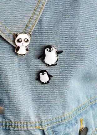 Набор пинов / значков / броши панда+пингвины