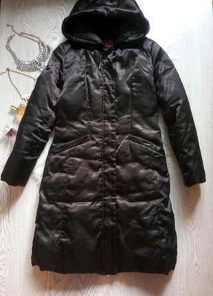 Черный длинный зимний пуховик 90% пух натуральный куртка с кап...