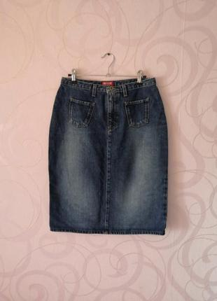 Джинсовая юбка-карандаш с потертостями, винтаж, ретро стиль