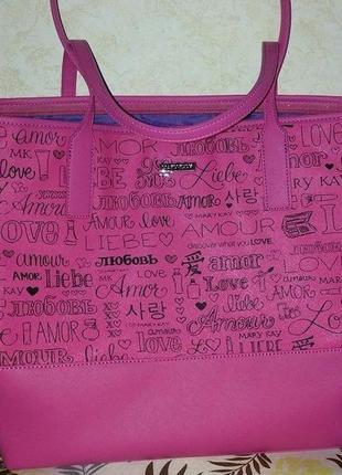 Розовая сумка мери кей mary kay с принтом