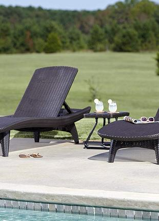 Шезлонг лежак Keter Pacific Set With Table Sun Lounger