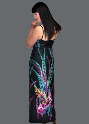 Черный длинный летний сарафан с ярким принтом stella