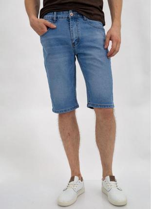 Джинсовые шорты-бриджи  мужские голубые