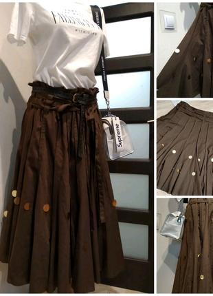 Тонкая лёгкая стильная коричневая юбка
