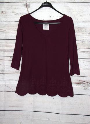 Красивая блузка цвета марсала с вышивкой l.o.g.g.