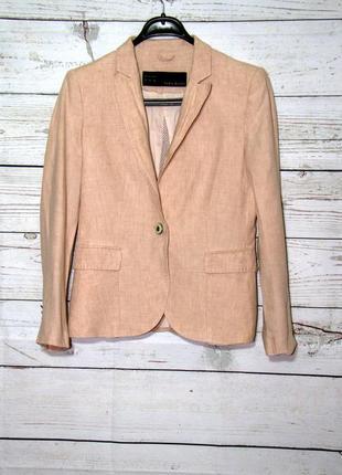 Пиджак zara из льна,крутой пудровый пиджак из льна.