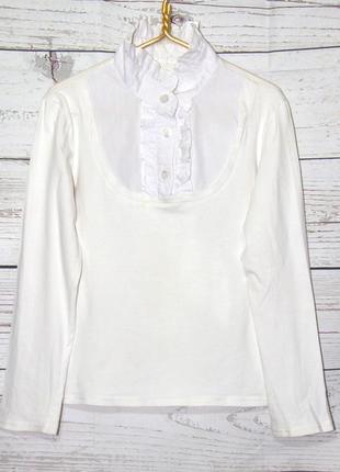 Белая школьная блузка, воротник жабо!