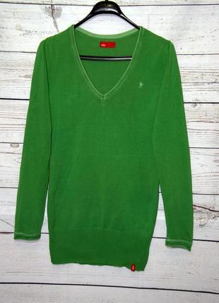 Длинный зеленый пуловер, джемпер