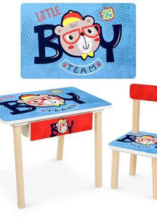 Детский деревянный столик со стульчиком и ящиком Bambi 803-3