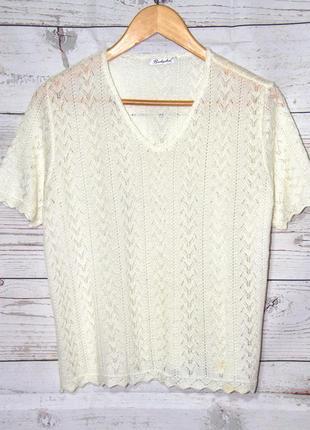 Элегантный ажурный пуловер с коротким рукавом молочно-белого ц...
