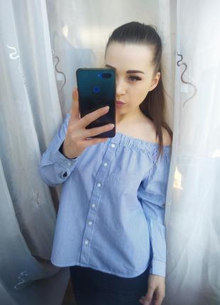 Шикарная блузка в полоску на плечи