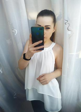 Шикарная белая блузка с красивой спинкой плиссировка