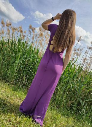 Шикарное платье в пол с разрезами и красивой спинкой на завязках