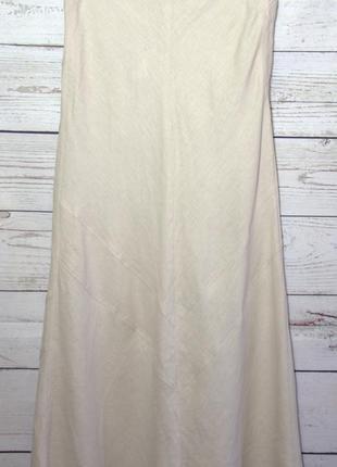 Крутая льняная юбка натурального цвета