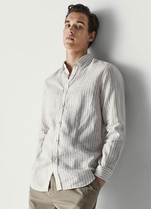 Льняная мужская  рубашка от h&m