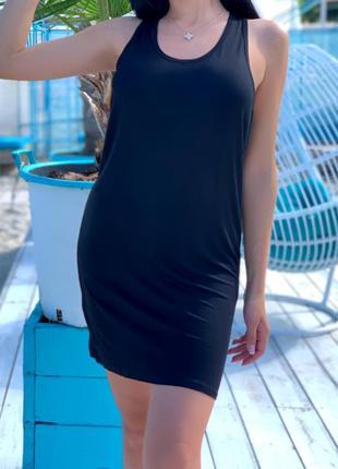 Стильная летняя майка туника, платье черного цвета
