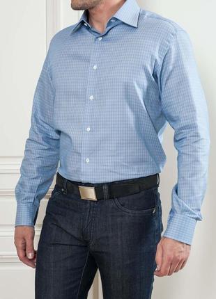 Стильная мужская  голубая рубашка в клетку/new man