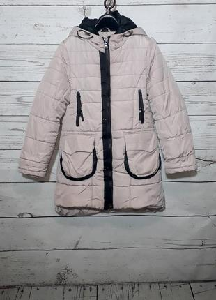 Очень теплый зимний пуховик пальто куртка пудрового цвета   по...