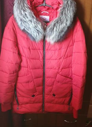 Зимняя куртка пуховик с натуральной чернобуркой