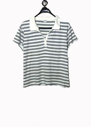 Женская футболка -поло из хб в полоску