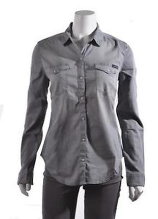 Классная котоновая рубашка под джинс серого цвета