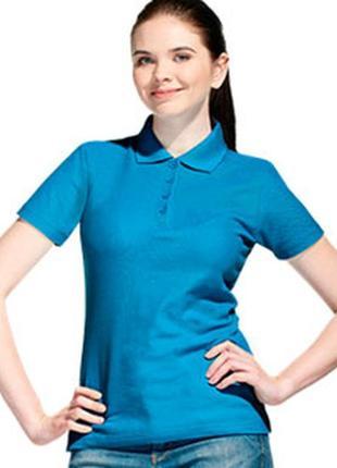 Женская поло футболка бирюзового цвета