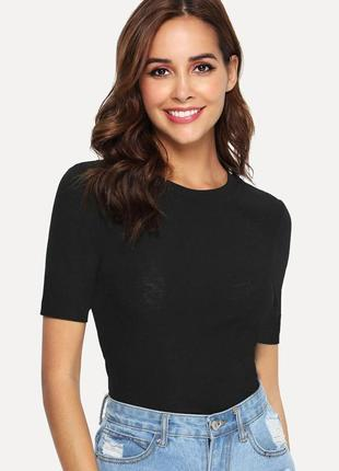 Джемпер футболка в рубчик с коротким рукавом