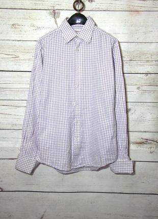 Lewin стильная облегающая рубашка в клетку под запонки