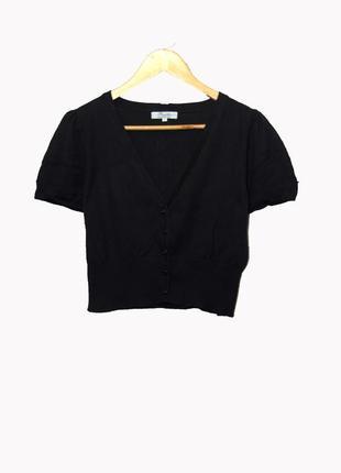 Черный короткий трикотажный кардиган/болеро uk14-16