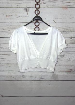 Белый трикотажный болеро кардиган uk 16-20