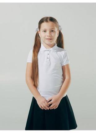 Белоснежная футболка-поло на девочку 7 лет