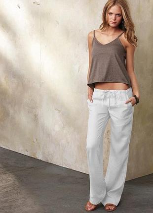 Льняные женские белые  брюки/штаны