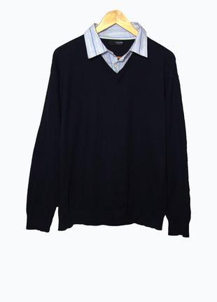 Мужской джемпер/пуловер темно-синий с воротником-рубашкой