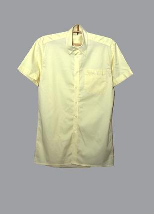 Мужская приталенная желтая рубашка/тенниска