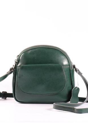 """Женская сумка через плечо, клатч из натуральной кожи зеленая """"..."""