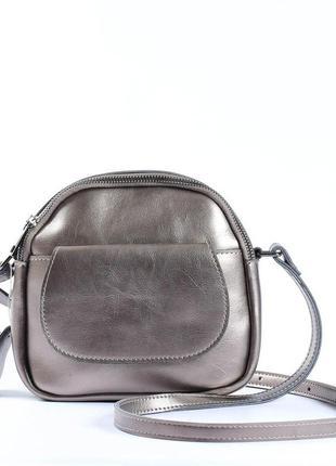 Женская сумка через плечо, клатч из натуральной кожи серебрист...
