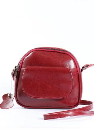 Женская сумка через плечо, клатч из натуральной кожи бордовая ...