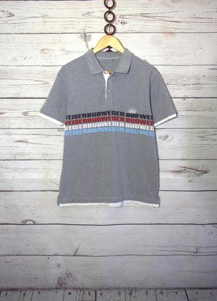 Мужская серая футболка-поло